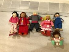 Wooden Dollhouse Dolls Family Figures People Lot Of 6