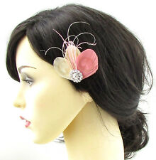 Ivory Cream Blush Pink Peacock Feather Hair Clip Fascinator Silver Bridal 703