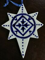 Nice Delft Blue Porcelain China Christmas Star Kurt S. Adler Christmas Ornament