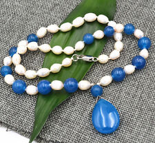 new akoya white Pearl & Apatite Pendant Necklace 18""