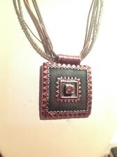 *IKITA* AUTUMN-Tones Crystal Enamel Pendant Tribal Effect Necklace GR8 Gift Idea