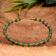 Emerald Gemstone Chain Bracelet 18K Yellow Gold Handmade Anniversary Jewelry