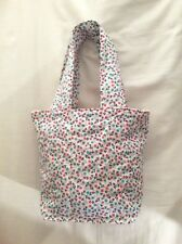 HANDMADE QUILTED TOTE BAG and MATCHING NOTEBOOK in PINK and BLUE FABRIC