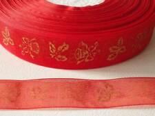 5m x 25mm Patterned Organza Ribbon:#56 Holly & Bells