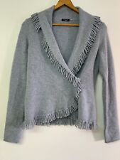 Magaschoni 100% Cashmere fringe cardigan Wrap sweater Small Light Blue...so Soft