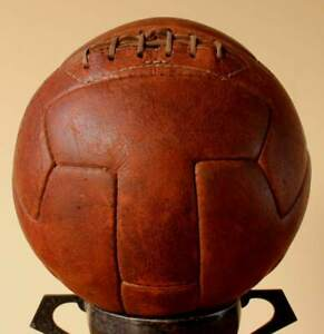 1950's Vintage T-Panel Football. Original Old Laced Leather Soccer T Ball.