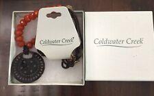 NWT COLDWATER CREEK CARVED CARNELIAN STONE SHELL PENDANT ORIGINAL BOX