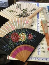 11 Vintage Foldaway Fan multi sizes and colors,design