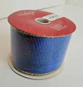 """One (1) Roll of Wired Red/Blue Christmas DESIGNER RIBBON, 10 yds x 2.5"""" - NEW"""
