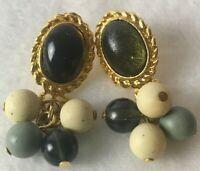 Vintage Dangle Stud Earrings Gold Tone Faux Bead  Green Stone Costume Jewelry
