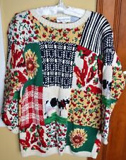 Eagle's Eye Country Themed Hand Knit Crewneck Sweater, L