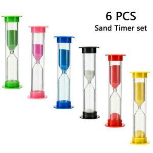 6 pack Sand Timer Set 30S/1M/2M/3M/5M/10MvMini Cooking Brush Wash Hands