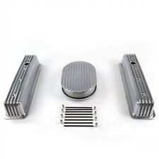 SBC Chevy 350 Finned Center Bolt Vortec Aluminum Valve Covers & Air Cleaner Kit