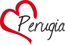 """Adesivo per auto """" PERUGIA """" (Città) cuore Sticker ca.9x13 cm taglio contorno"""