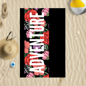 """58x39"""" Adventure Floral Microfibre Beach Towel Summer Holiday Gift"""