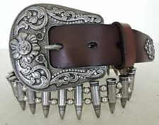Rare 12 Gauge Bullet Belt by Montana West Coffee Leather  Size 36