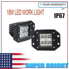 2Pcs 18W Flood LED Cube Pods Work Light Flush Mount Offroad Truck Square yl14