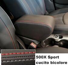 per FIAT 500X Bracciolo REGOLABILE nero DOPPIE CUCITURE ROSSE e GRIGIO GHIACCIO