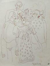 """Audrey Pilkington (1922-2015) """"The Men in her Life"""" Ink 1940s"""