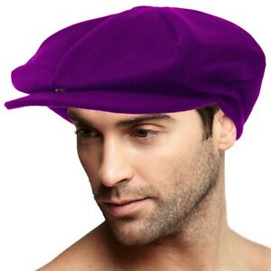 Men's 100% Winter Wool Super Oversized Newsboy Drivers Cabby Cap Hat XL Purple