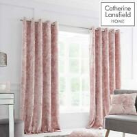 Catherine Lansfield Crushed Velvet Blush Eyelet Curtains Pink Lined Curtain Pair