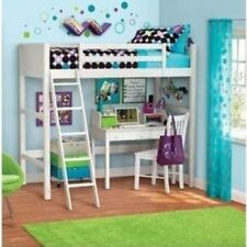 Twin Bed Loft Wood Kids Bunk Furniture Bedroom Ladder Desk Over White