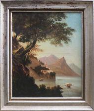 Tableau HST XIX° siècle - Paysage Marine Monastére Côte Italienne ou Sud + cadre