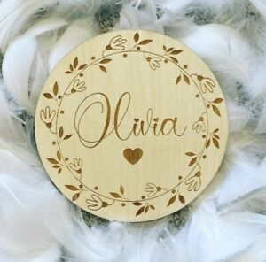 Personalised Wooden Birth Announcement Plaque Sign New Baby Shower Gift Sign