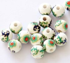 15Beads--Hand Painted Flower Ceramics Porcelain Beads Finding--10mm