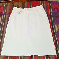 Talbot's Women's Denim Ivory Pencil Cut Straight Midi Jean Skirt Petite size 4P.