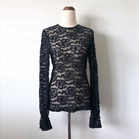 CUE Navy Black Floral Lace Sheer Long Flutter Sleeve Top Blouse Size 10 Stretch