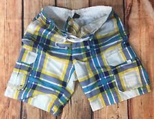 VANCL MEN'S PLAID STYLE CARGO BOARD SHORTS/SWIM TRUNKS SIZE LARGE MINT PRE-OWNED