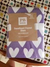"NIP Pottery Barn Teen ""Sweetheart - Lavender"" Flannel Euro Pillow Sham"