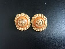 Ben Amun Substantial Coral Cabochon & Gold Tone Clip Earrings