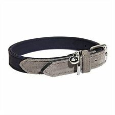 Rosewood Luxury Leather Dog Collar 16-20inch Soft Touch Navy