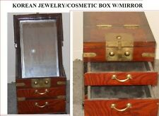 KOREAN ZELKOVA WOOD JEWELRY/COSMETIC BOX WITH BEVELED MIRROR (KYUNG DAE)