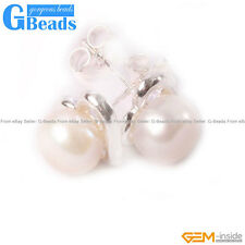 6-7mm Freshwater Pearl White Gold Plate Heart Frame Stud Earrings Free Shipping