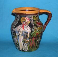 Studio ART Pottery-dipinti a mano vintage finitura testurizzata Brocca Firmato M L renacre