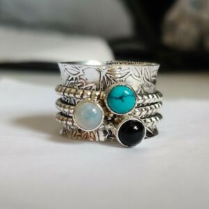 Turquoise Ring Spinner Ring 925 Sterling Silver Plated Handmade Ring Size 8 P538