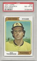 SET BREAK - 1974 TOPPS #77 RICH TROEDSON, PSA 8 NM-MT, SAN DIEGO PADRES, L@@K