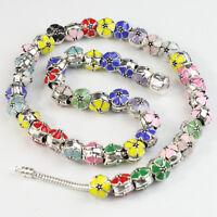 5pcs Lots Colour Enamel Flower Silver Big Hole Charm Beads for European Bracelet