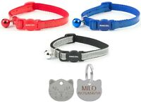 Cat Collar Ancol Reflective Gloss, Red, Blue Or Silver With 22mm Cat Face Id Tag