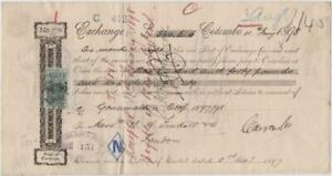 CEYLON: 1897-98 Queen Victoria Foreign Bill Revenue Examples on Document (38768)