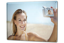 """Your photo image on a metal plate tin sign XXL 12"""" x 16"""""""