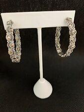 Marcasite & Sterling Silver Inside Outside Medium Oval Hoop Pierced Earrings NIB