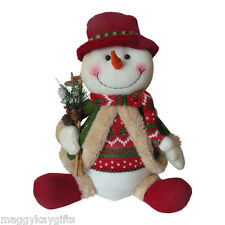 Plush Sitting Snowman Christmas Decoration Red & Green Fabric Shelf Sitter 30cm