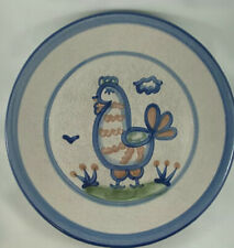 """M. A. Hadley Pottery Chicken 11"""" Dinner Plate Blue Green Colourized"""