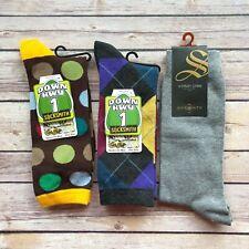 Bundle of 3 Pairs Socksmith Mens Crew Socks Multi-Color Novelty Footwear New
