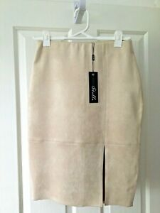 Beautiful STELLA Sand Faux Suede Women`s Knee Length Pencil Skirt SIZE 10
