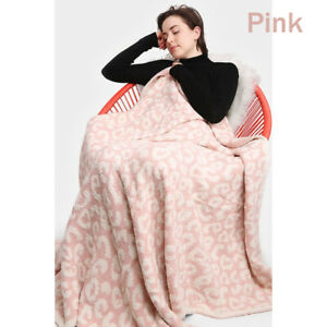 NEW COMFYLUXE Soft Cozy Plush Leopard Print Barefoot Dreams DUPE Throw Blankets